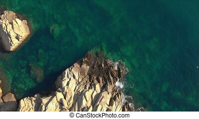 Aerial landscape footage from a Spanish Costa Brava in a...