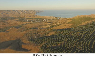 Aerial landscape in Crimea - Late summer sunset aerial...