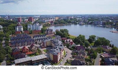 Aerial landscape of Kaliningrad city, Russia. Sunny summer...
