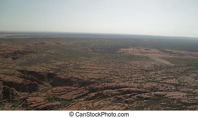 Aerial landscape of Outback Australia - Close-up aerial pan...