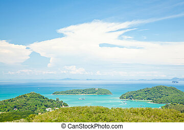patong tropical beach from aerial view phuket thailand