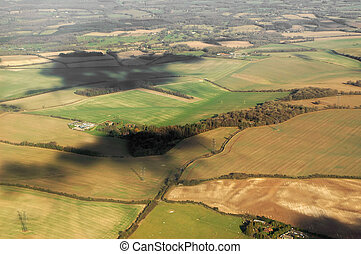 aerial landscape of rural southern england