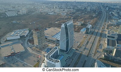 Aerial landscape of Sofia. Construction of new modern ...
