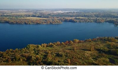 Aerial landscape of the lake in the forest