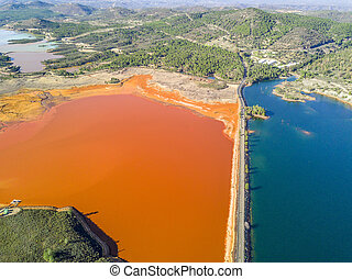 Aerial landscape of unusual, colorful lakes in Minas de ...