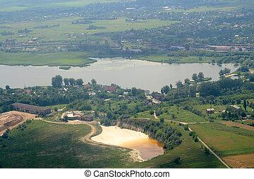 Aerial landscape. Summer in Rivne region, Ukraine.