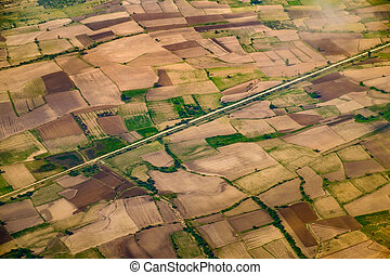 Aerial landscape view of fields and meadows, Myanmar