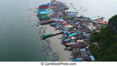 Aerial landscape view of Koh Panyee village, Thailand, Asia