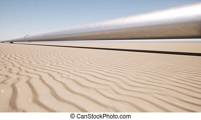 Aerial landscape with metal pipeline in the sand desert 4k