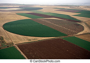 Aerial landscape with rural fields at hot summer