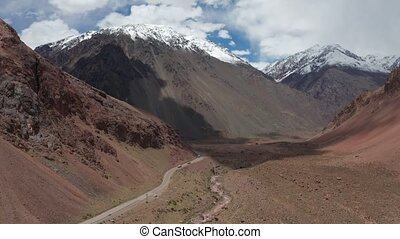 Aerial, Landscapes Around Punta De Vacas, Argentina -...