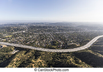 Aerial Los Angeles California Eagle Rock Neighborhood