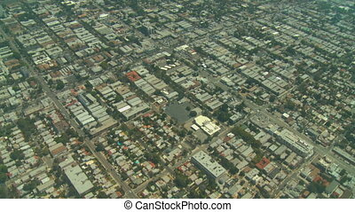 Flying over Hollywood in Los Angeles, California.