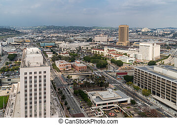 Aerial Los Angeles downtown