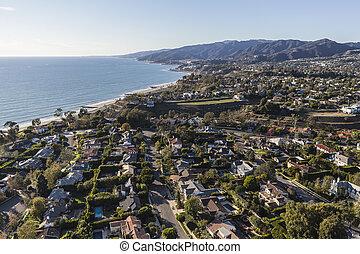Aerial Los Angeles Ocean View Neighborhood