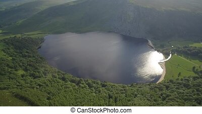Aerial, Lough Tay Lake At Luggala, County Wicklow, Ireland - Native Material, straight out of the cam, watch also for a graded and stabilized version