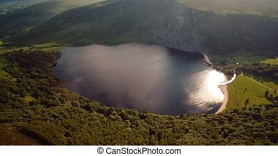 Aerial, Lough Tay Lake At Luggala, County Wicklow, Ireland -...