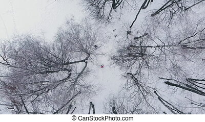 Aerial: Man and woman running through woods in winter time