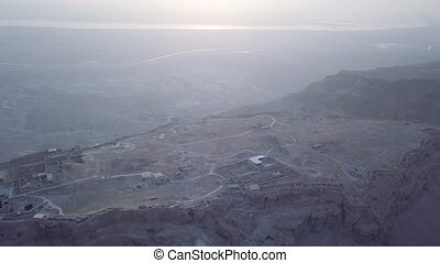 Aerial Masada and dead sea view in the morning