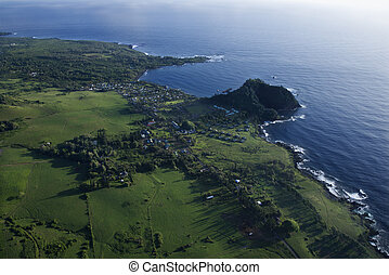 Aerial Maui landscape. - Aerial view of coastal landscape of...
