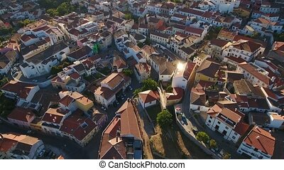 Aerial. Monchique village view from the sky. ancient...