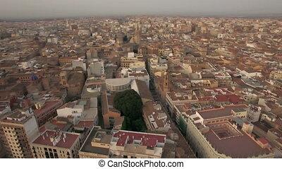 Aerial morning flight above Valencia, Spain
