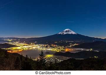 aerial Mount Fuji night - aerial Mount Fuji with kawaguchiko...