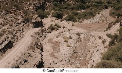 Aerial, Mountain Ranges Around Belen, Argentina - This clip...