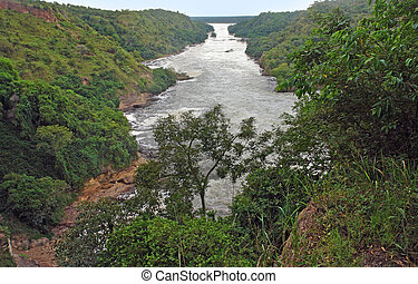 aerial Murchison Falls scenery - high angle view around the...