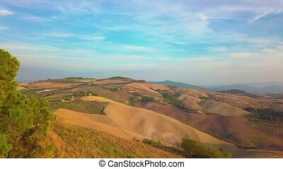 Aerial nature landscape beautiful hills forests fields and...