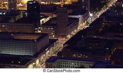 Aerial night shot of a modern city street traffic