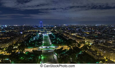 Aerial Night timelapse view of Paris City and Field of Mars...
