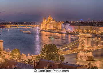 Aerial night view of Budapest