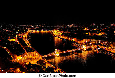 Aerial night view of Budapest, Hungary. - Beautiful night ...