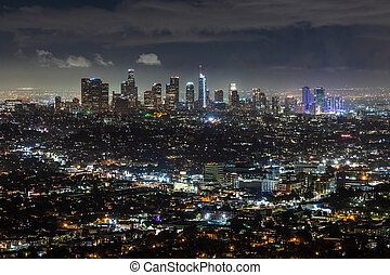 Aerial night view of downtown Los Angeles skyline; California