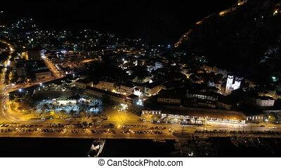 Aerial night view of old town Kotor, Montenegro, hyperlapse