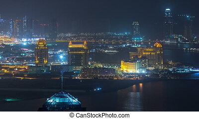 Aerial night view to Pearl-Qatar timelapse from top.