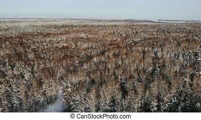 Aerial nordic winter landscape flight over snow mountain...