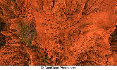 aerial., oben, brummen, kugel, von, rote schlucht, steinen, in, mui, ne, vietnam., abstrakt, orange hintergrund, für, text, oder, titel