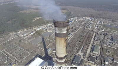 Aerial of a coal fire power station, close up