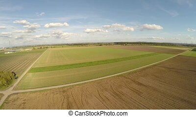 Aerial of a landscape with agriculture in germany