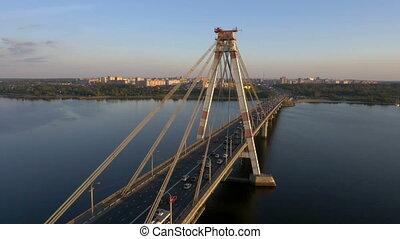 Aerial of a suspension bridge HD