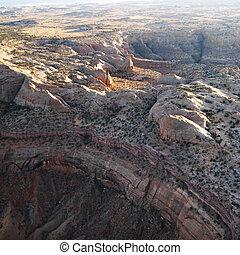 Aerial of Arizona desert.