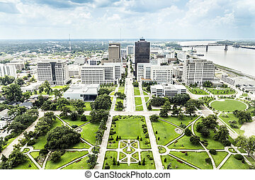 aerial of baton Rouge with Huey Long statue and skyline -...