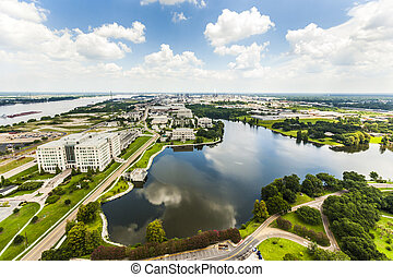 aerial of baton Rouge with Missisippi river and oil...