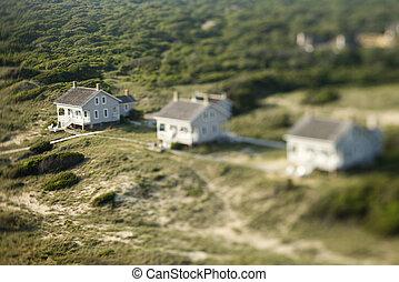 Aerial of beach homes.