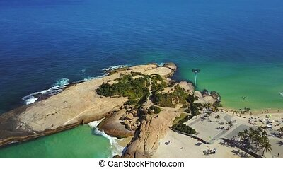 Aerial of Beaches of Ipanema & Copacabana in Rio de Janeiro...