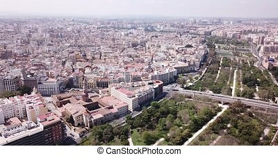 Aerial of city Valencia, Spain - Aerial view of city ...