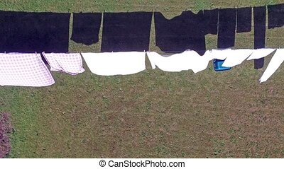Aerial of clothes hanging on a clothesline