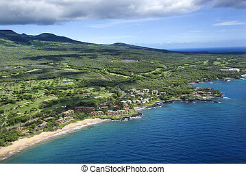 Aerial of coastline. - Aerial of Maui coastline.